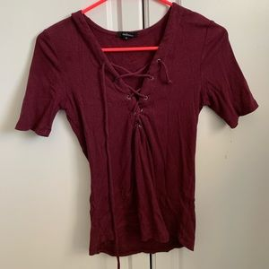 forever 21: wine colored lace up top